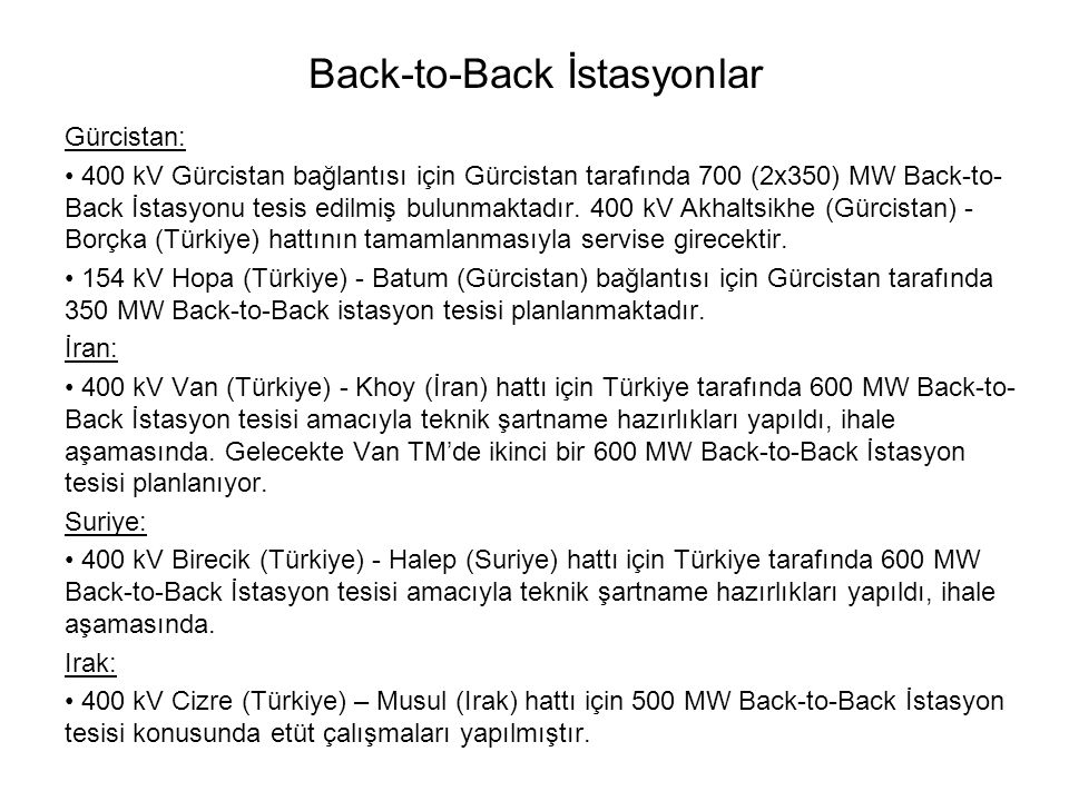 Back-to-Back İstasyonlar