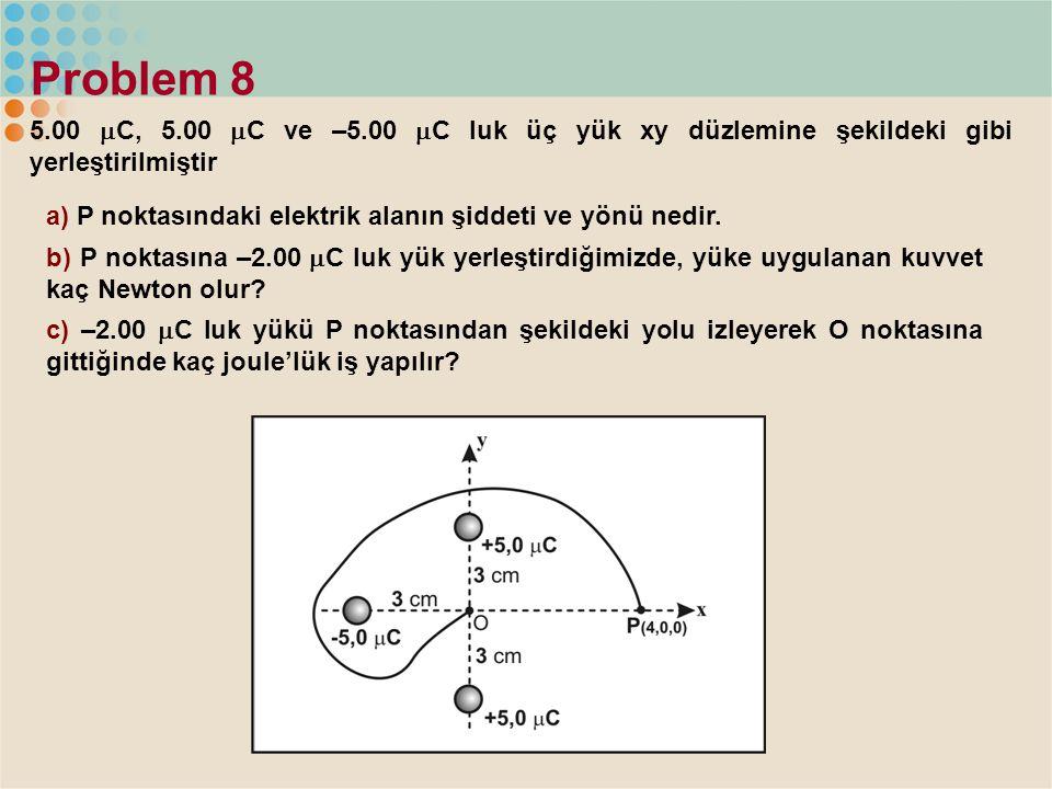 Problem 8 5.00 C, 5.00 C ve –5.00 C luk üç yük xy düzlemine şekildeki gibi yerleştirilmiştir.
