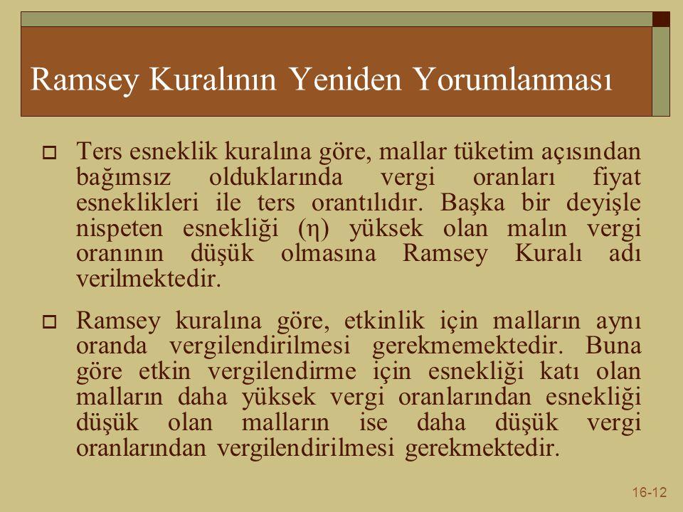 Ramsey Kuralının Yeniden Yorumlanması