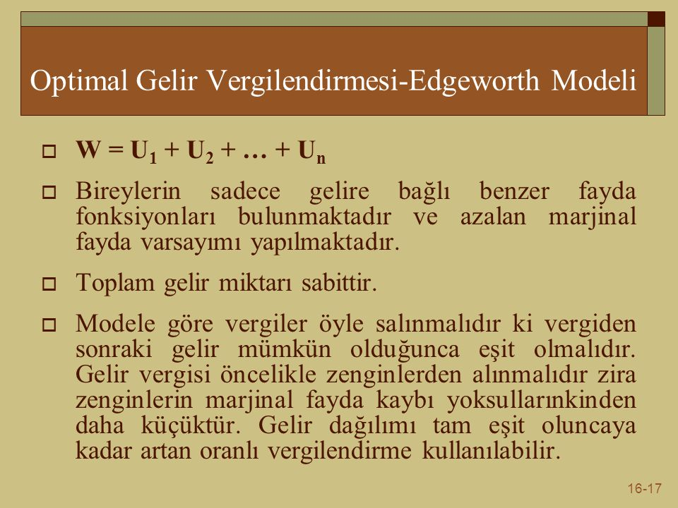Optimal Gelir Vergilendirmesi-Edgeworth Modeli