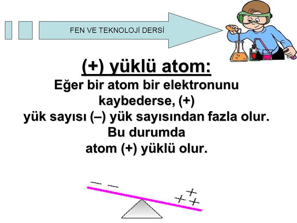 (+) yüklü atom: Eğer bir atom bir elektronunu kaybederse, (+) yük sayısı (–) yük sayısından fazla olur.