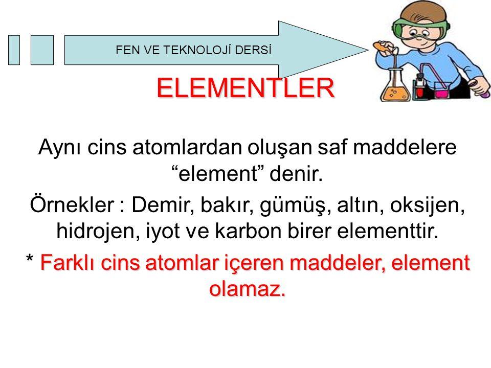 ELEMENTLER Aynı cins atomlardan oluşan saf maddelere element denir.