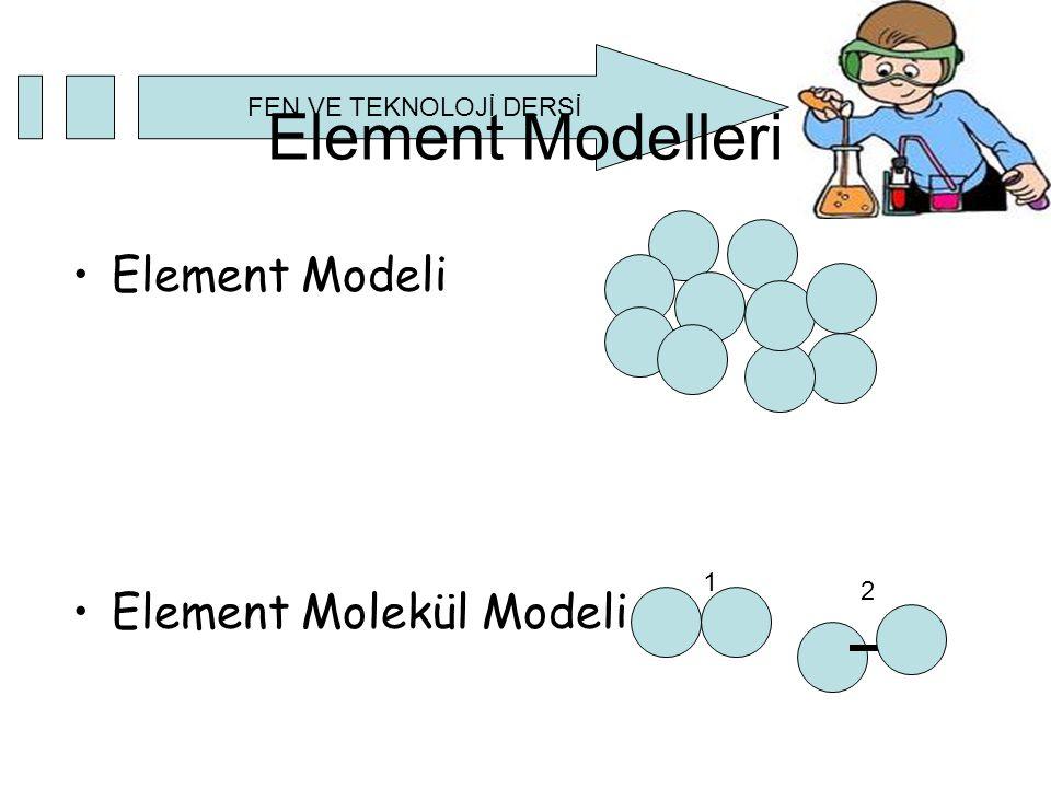 Element Modelleri Element Modeli Element Molekül Modeli 1 2
