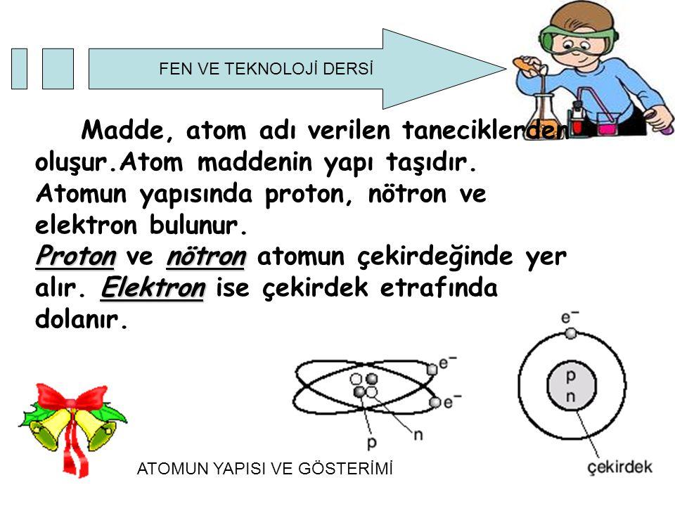 Atomun yapısında proton, nötron ve elektron bulunur.