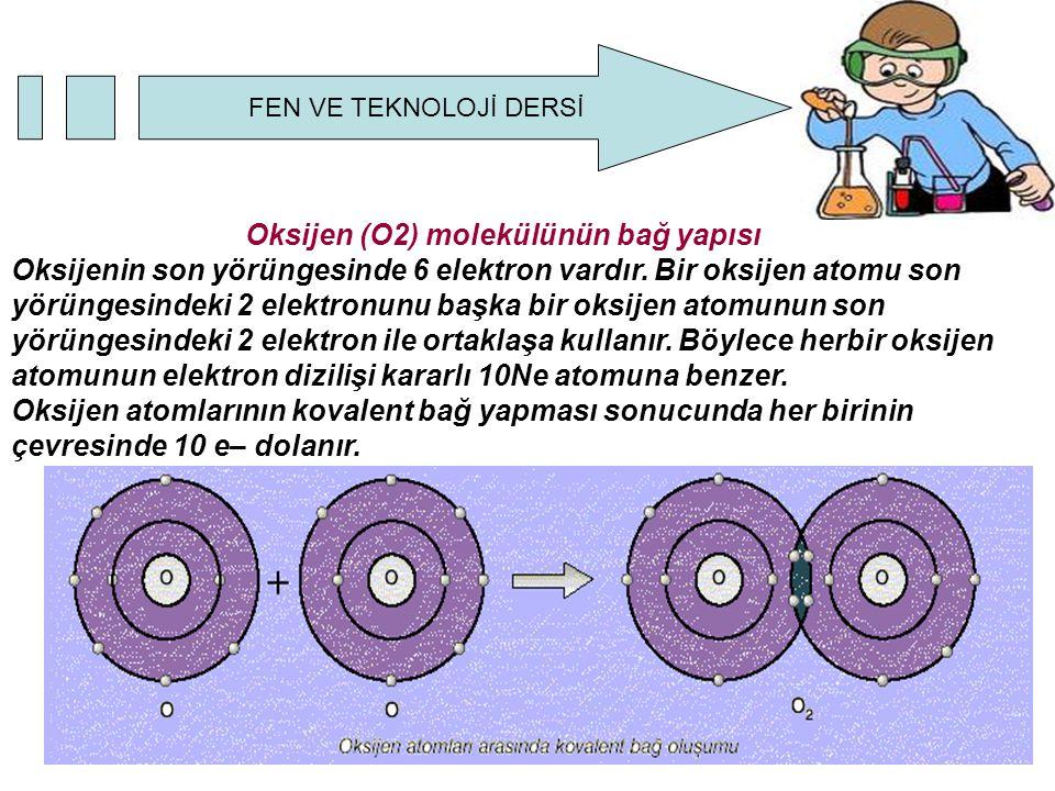 Oksijen (O2) molekülünün bağ yapısı Oksijenin son yörüngesinde 6 elektron vardır.