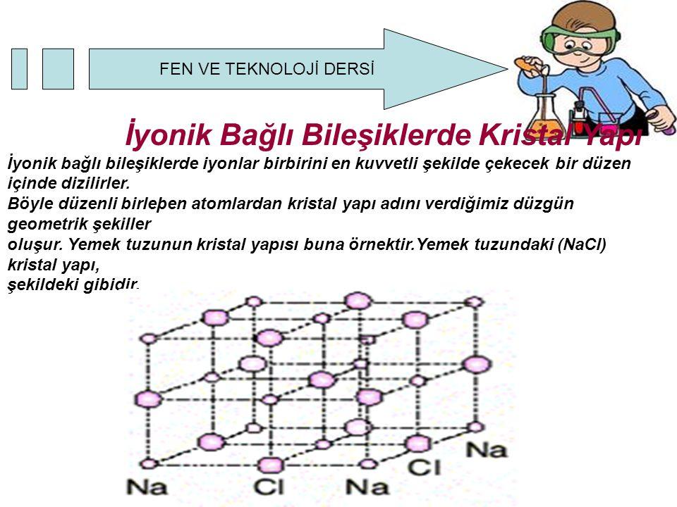 İyonik Bağlı Bileşiklerde Kristal Yapı İyonik bağlı bileşiklerde iyonlar birbirini en kuvvetli şekilde çekecek bir düzen içinde dizilirler.