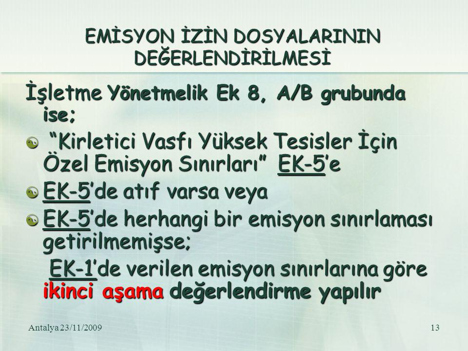 EMİSYON İZİN DOSYALARININ DEĞERLENDİRİLMESİ