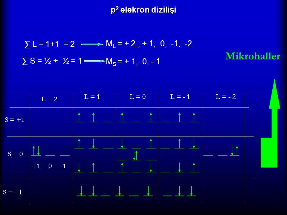 Mikrohaller p2 elekron dizilişi ∑ L = 1+1 = 2