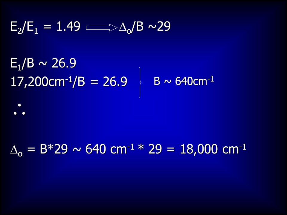  E2/E1 = 1.49 Do/B ~29 E1/B ~ 26.9 17,200cm-1/B = 26.9