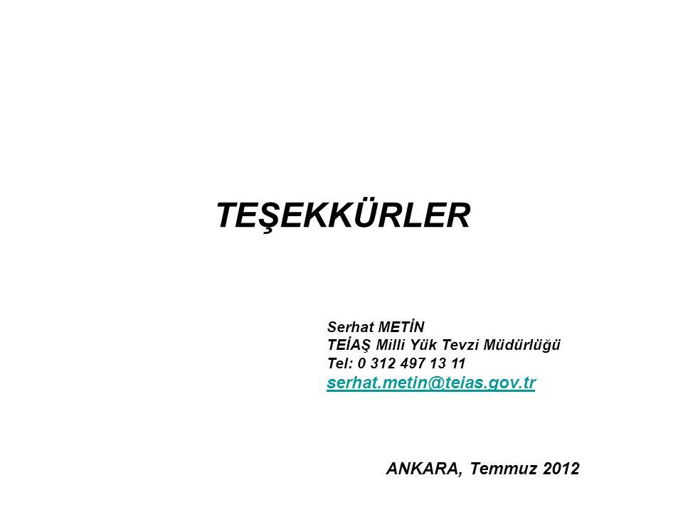 TEŞEKKÜRLER serhat.metin@teias.gov.tr ANKARA, Temmuz 2012 Serhat METİN