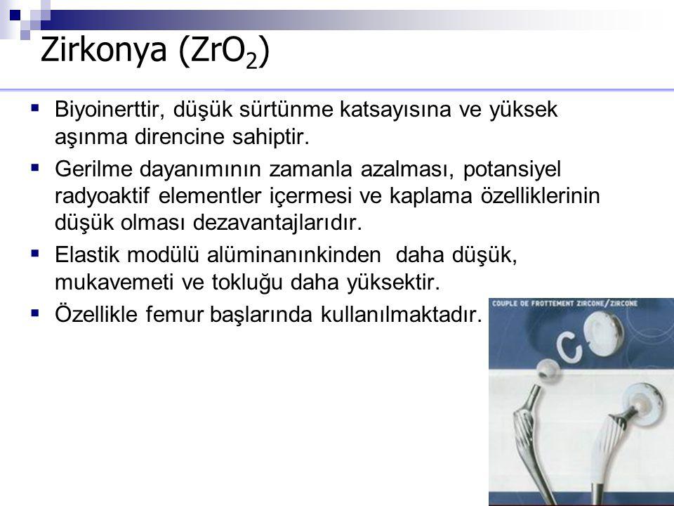 Zirkonya (ZrO2) Biyoinerttir, düşük sürtünme katsayısına ve yüksek aşınma direncine sahiptir.