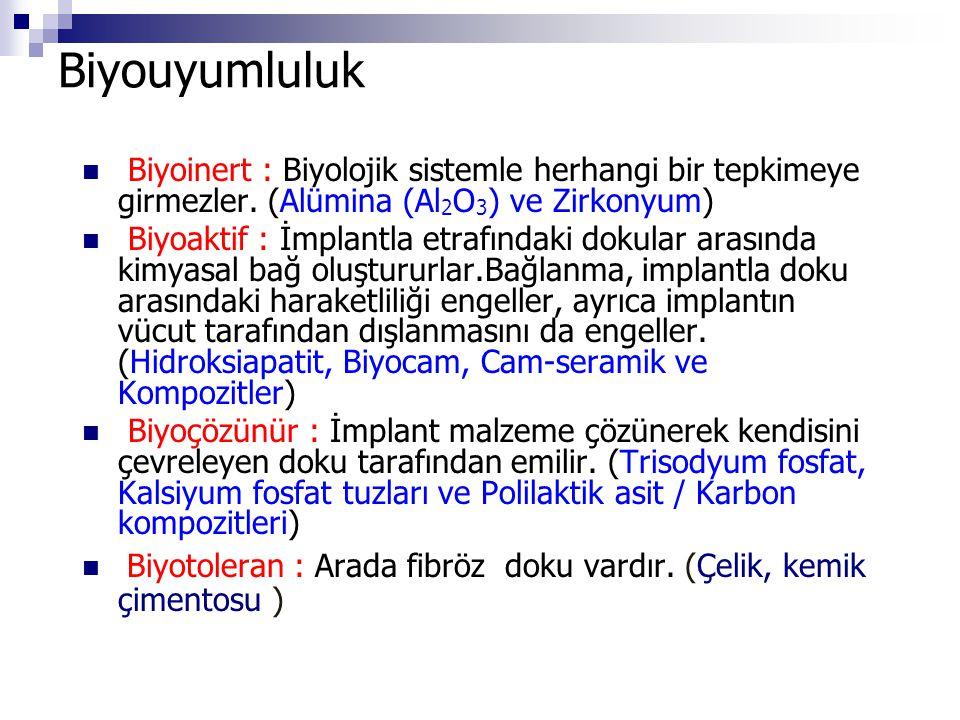 Biyouyumluluk Biyoinert : Biyolojik sistemle herhangi bir tepkimeye girmezler. (Alümina (Al2O3) ve Zirkonyum)