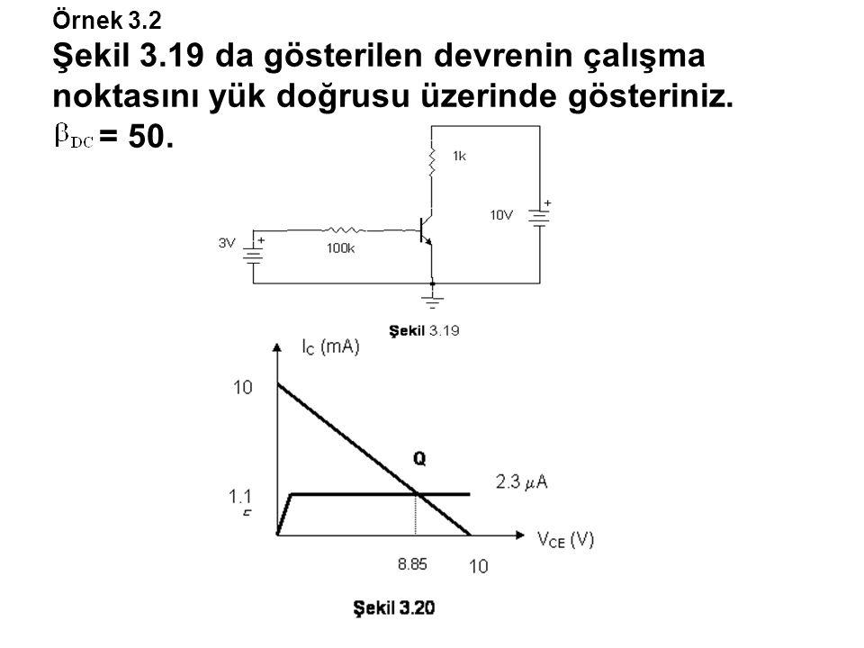 Örnek 3.2 Şekil 3.19 da gösterilen devrenin çalışma noktasını yük doğrusu üzerinde gösteriniz. = 50.