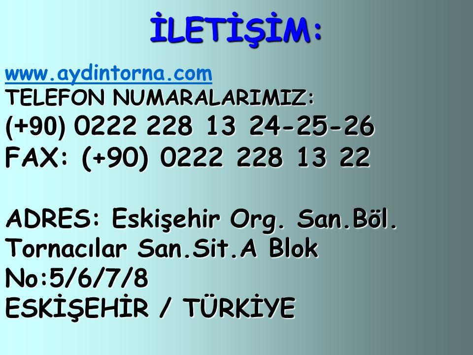 İLETİŞİM: (+90) 0222 228 13 24-25-26 FAX: (+90) 0222 228 13 22