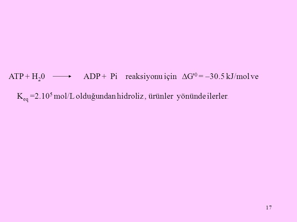 ATP + H20 ADP + Pi reaksiyonu için ΔG 0 = –30.5 kJ/mol ve