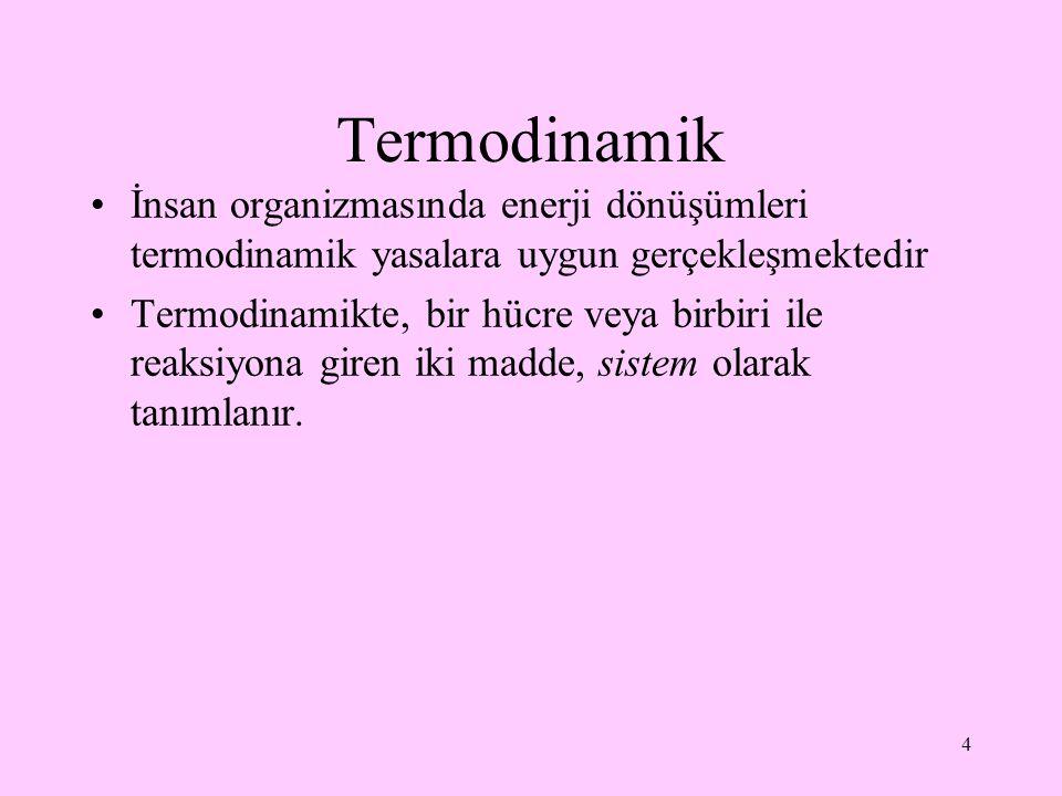 Termodinamik İnsan organizmasında enerji dönüşümleri termodinamik yasalara uygun gerçekleşmektedir.