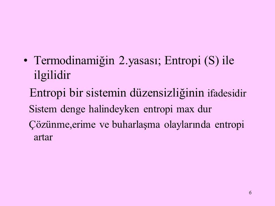 Termodinamiğin 2.yasası; Entropi (S) ile ilgilidir