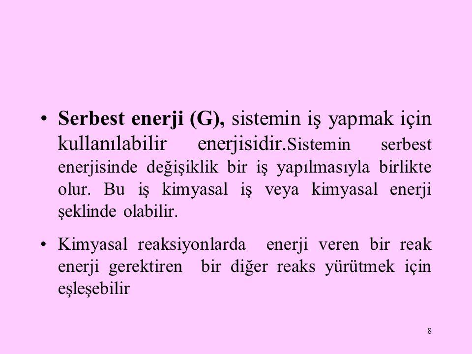 Serbest enerji (G), sistemin iş yapmak için kullanılabilir enerjisidir