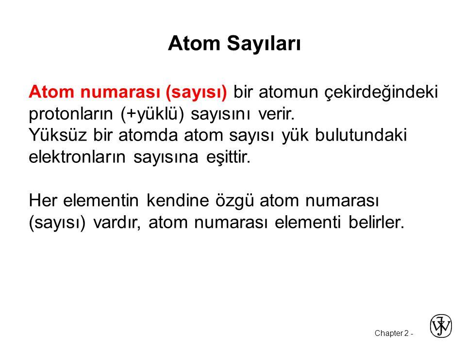 Atom Sayıları Atom numarası (sayısı) bir atomun çekirdeğindeki protonların (+yüklü) sayısını verir.