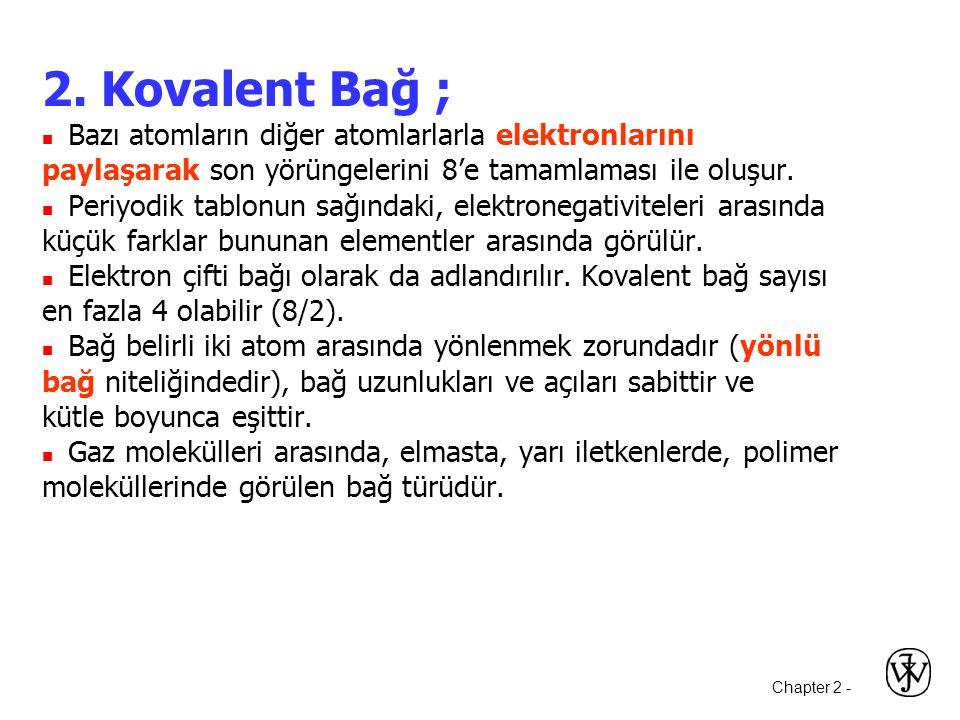 2. Kovalent Bağ ;  Bazı atomların diğer atomlarlarla elektronlarını. paylaşarak son yörüngelerini 8'e tamamlaması ile oluşur.