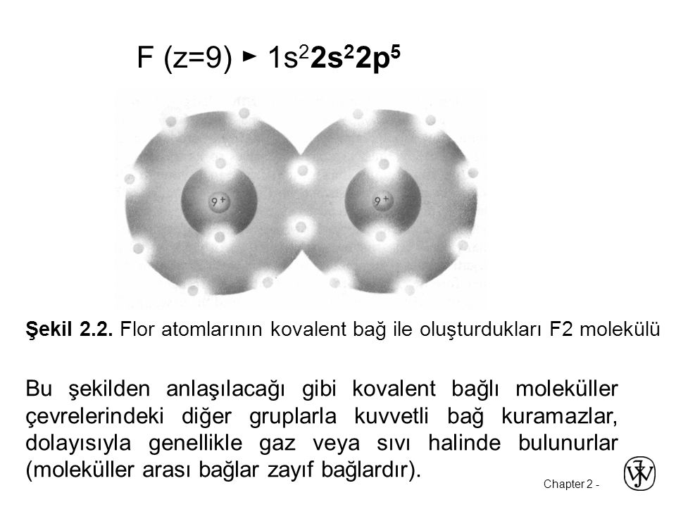 F (z=9) ► 1s22s22p5 Şekil 2.2. Flor atomlarının kovalent bağ ile oluşturdukları F2 molekülü.