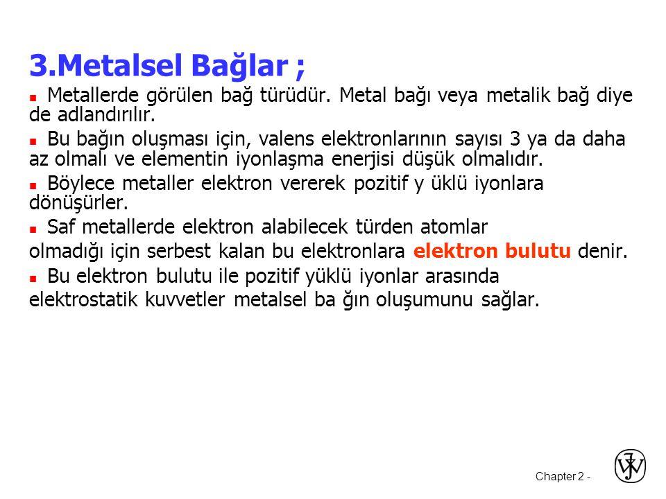 3.Metalsel Bağlar ;  Metallerde görülen bağ türüdür. Metal bağı veya metalik bağ diye de adlandırılır.