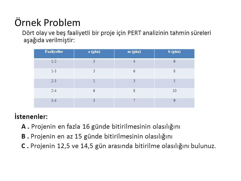 Örnek Problem İstenenler: