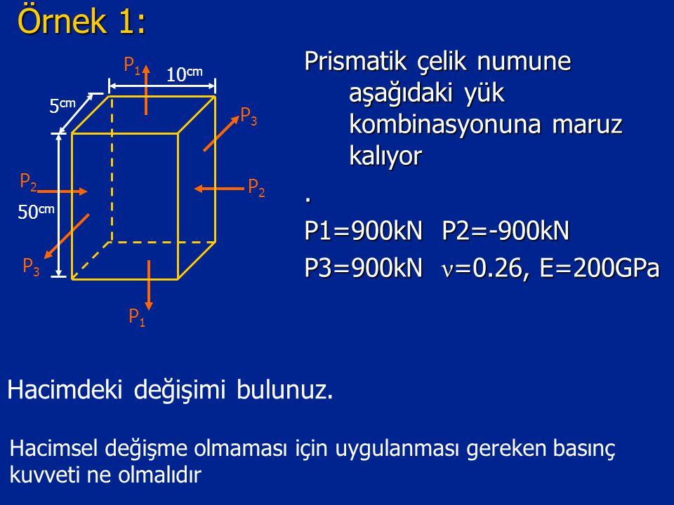 Örnek 1: Prismatik çelik numune aşağıdaki yük kombinasyonuna maruz kalıyor. . P1=900kN P2=-900kN.