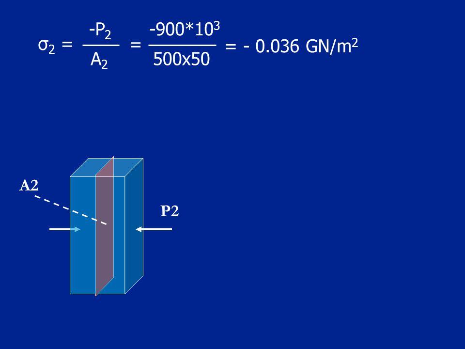 500x50 = -900*103 A2 -P2 = - 0.036 GN/m2 σ2 = A2 P2
