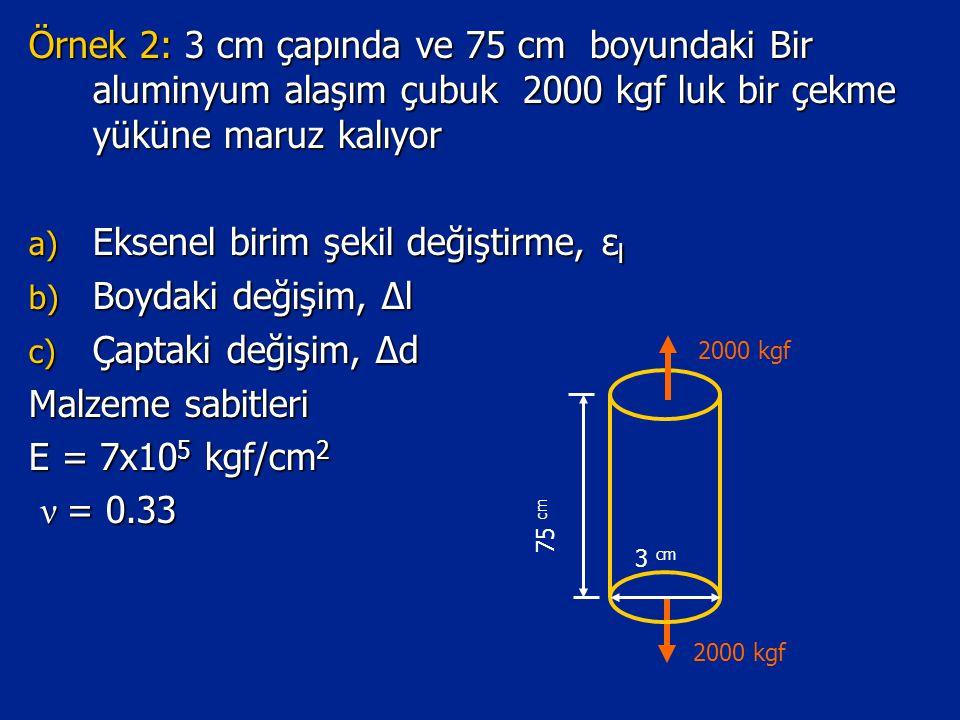 Eksenel birim şekil değiştirme, εl Boydaki değişim, Δl