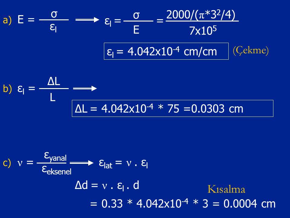 Kısalma E = σ εl εl = E = 2000/(π*32/4) 7x105 εl = 4.042x10-4 cm/cm