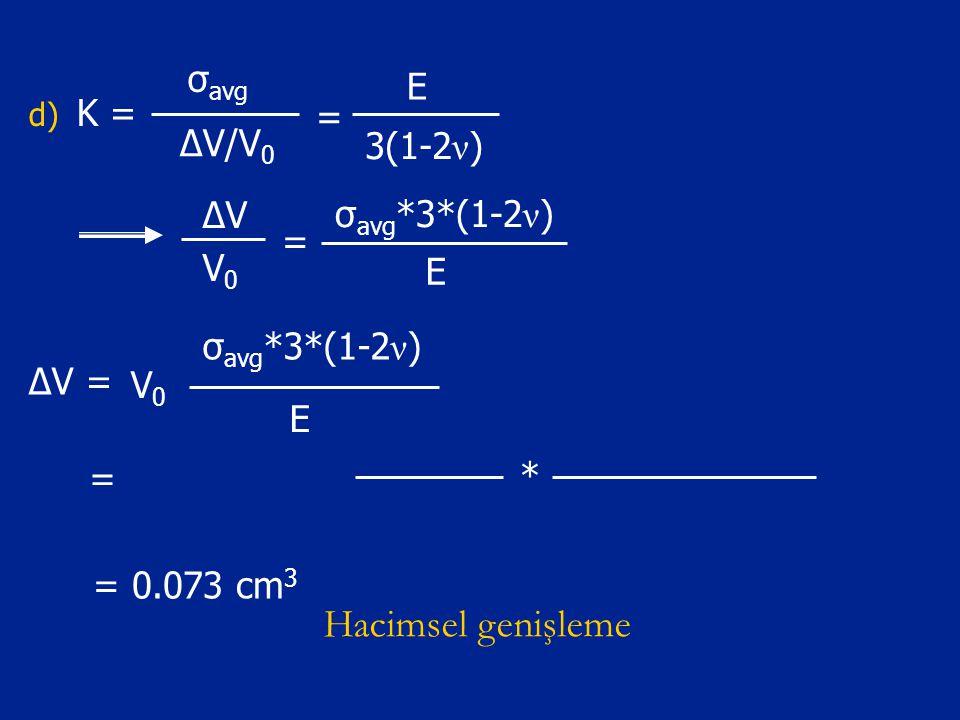 Hacimsel genişleme σavg E K = = ΔV/V0 3(1-2ν) ΔV σavg*3*(1-2ν) = V0 E