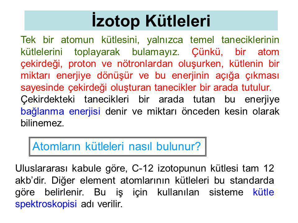İzotop Kütleleri Atomların kütleleri nasıl bulunur