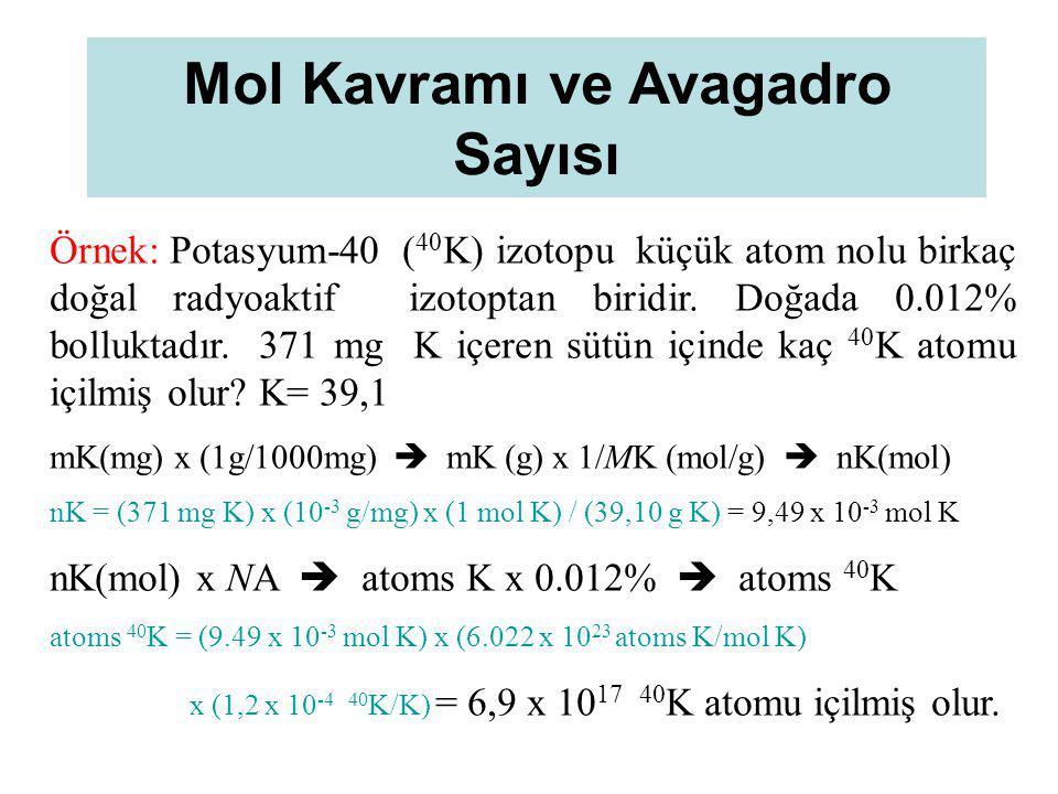 Mol Kavramı ve Avagadro Sayısı