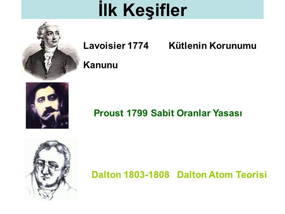 İlk Keşifler Lavoisier 1774 Kütlenin Korunumu Kanunu