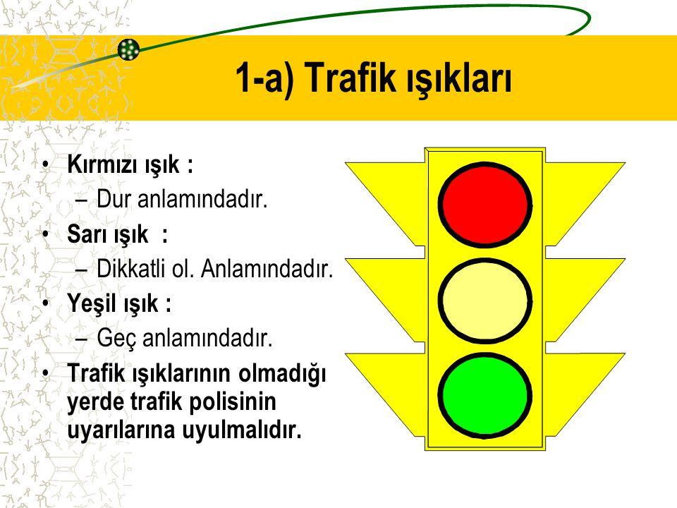 1-a) Trafik ışıkları Kırmızı ışık : Dur anlamındadır. Sarı ışık :
