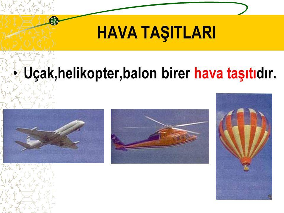 HAVA TAŞITLARI Uçak,helikopter,balon birer hava taşıtıdır.