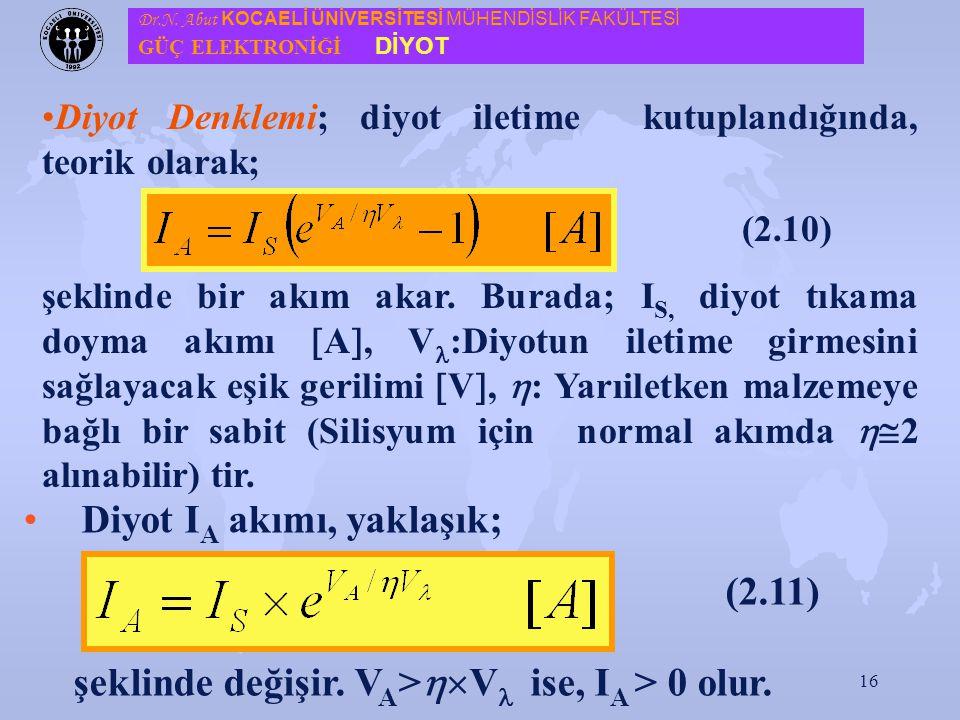 Diyot IA akımı, yaklaşık; (2.11)