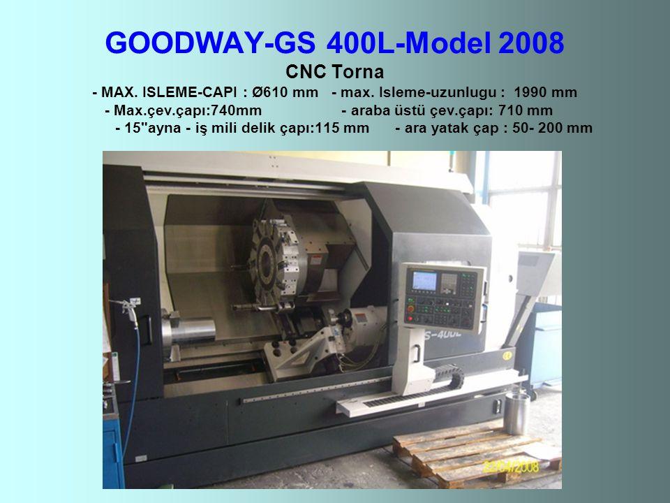 GOODWAY-GS 400L-Model 2008 CNC Torna - MAX. ISLEME-CAPI : Ø610 mm - max.