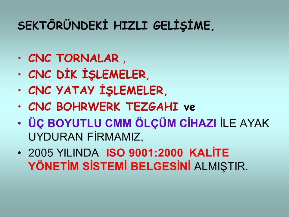 SEKTÖRÜNDEKİ HIZLI GELİŞİME,