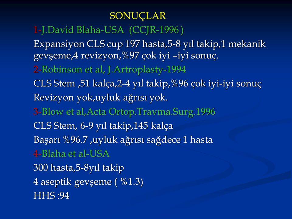SONUÇLAR 1-J.David Blaha-USA (CCJR-1996 ) Expansiyon CLS cup 197 hasta,5-8 yıl takip,1 mekanik gevşeme,4 revizyon,%97 çok iyi –iyi sonuç.