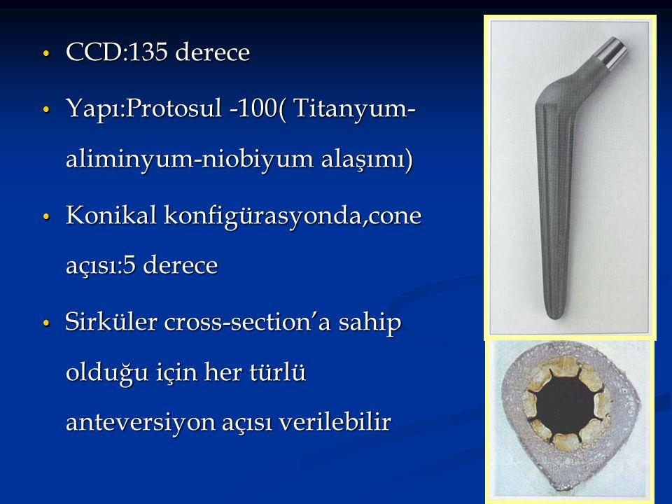 CCD:135 derece Yapı:Protosul -100( Titanyum-aliminyum-niobiyum alaşımı) Konikal konfigürasyonda,cone açısı:5 derece.
