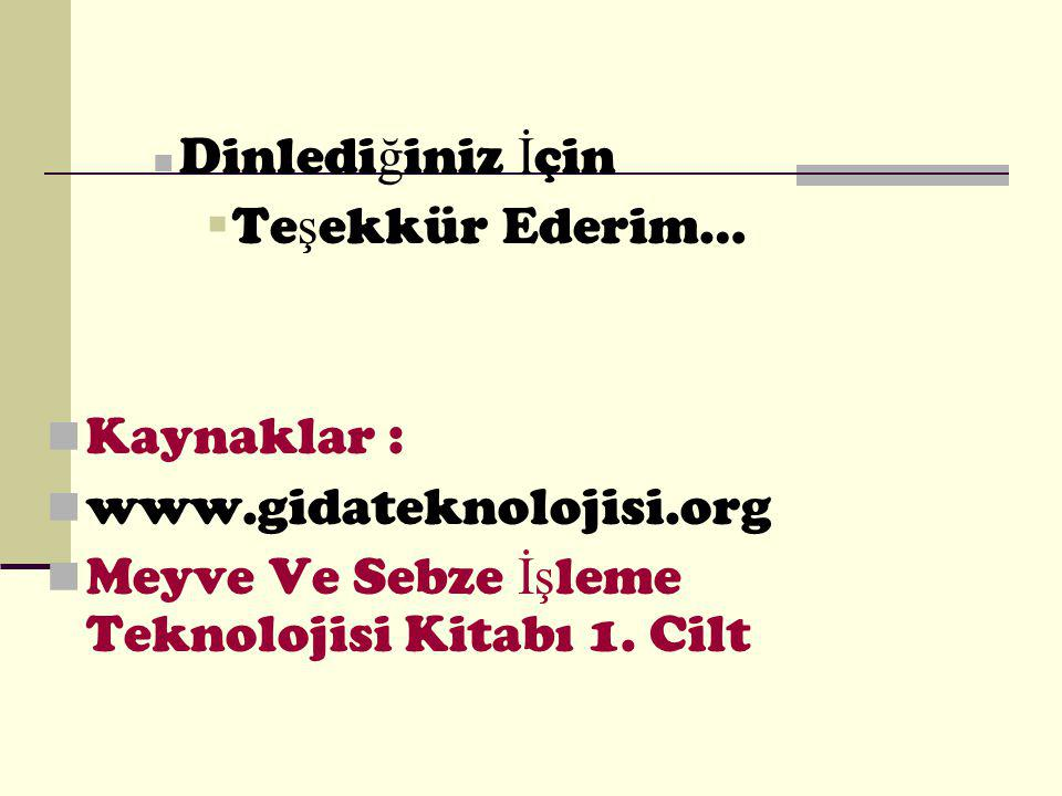 Dinlediğiniz İçin Teşekkür Ederim… Kaynaklar : www.gidateknolojisi.org.