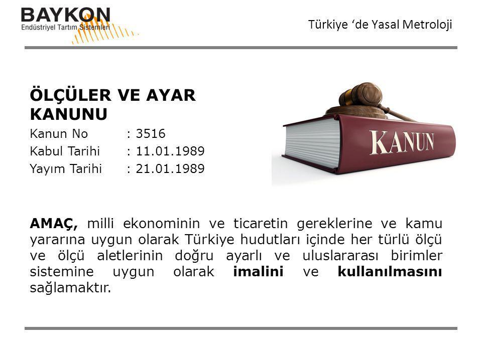 ÖLÇÜLER VE AYAR KANUNU Türkiye 'de Yasal Metroloji