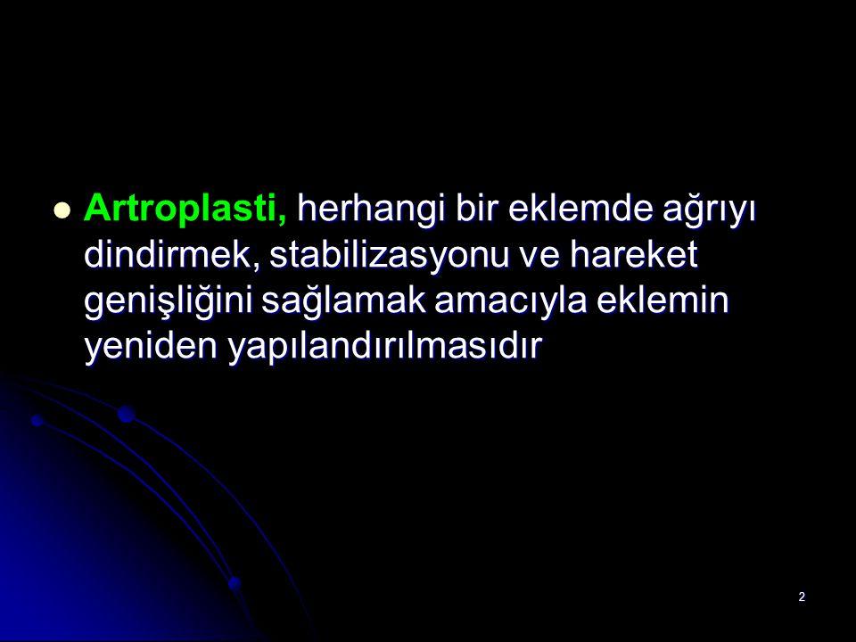 Artroplasti, herhangi bir eklemde ağrıyı dindirmek, stabilizasyonu ve hareket genişliğini sağlamak amacıyla eklemin yeniden yapılandırılmasıdır