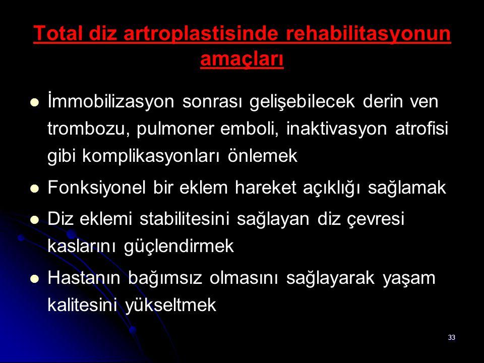 Total diz artroplastisinde rehabilitasyonun amaçları