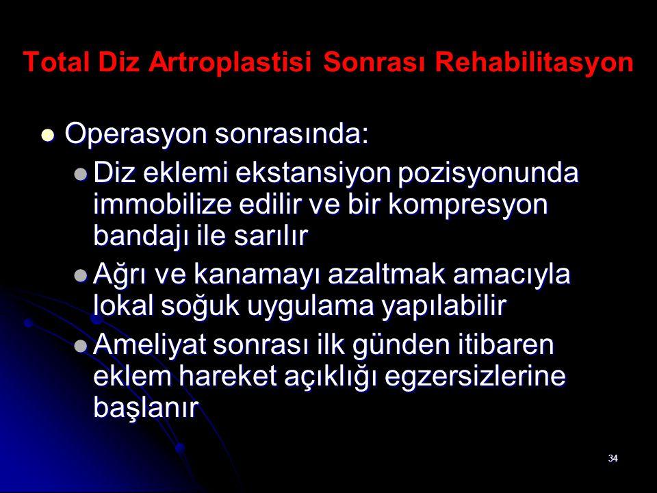 Total Diz Artroplastisi Sonrası Rehabilitasyon