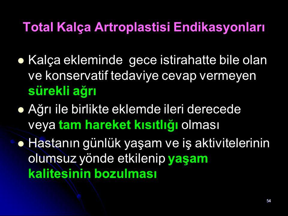 Total Kalça Artroplastisi Endikasyonları