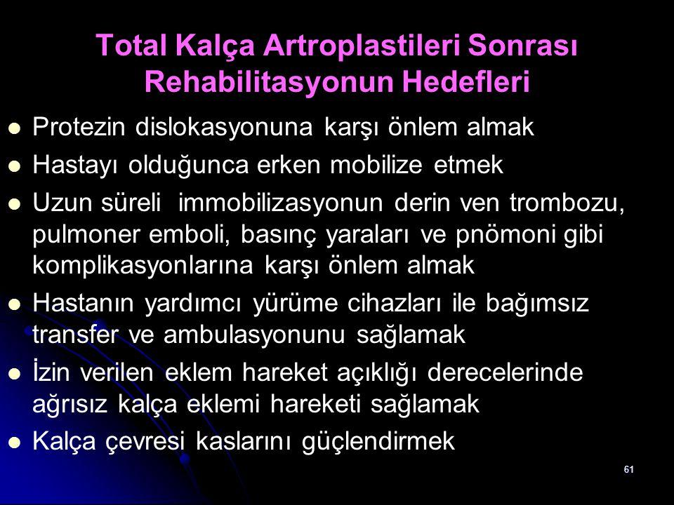 Total Kalça Artroplastileri Sonrası Rehabilitasyonun Hedefleri