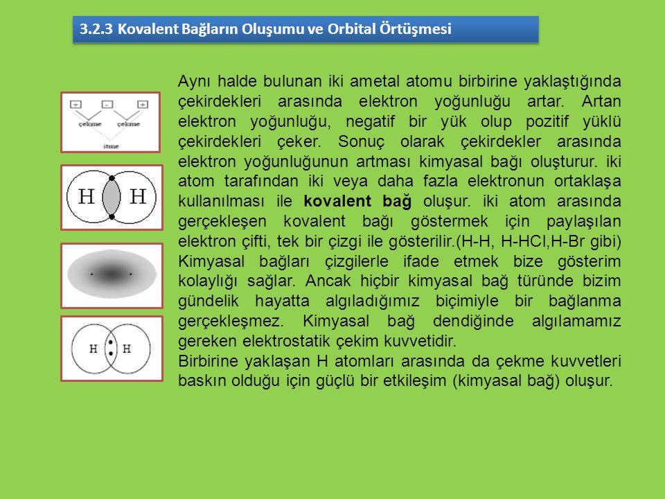 3.2.3 Kovalent Bağların Oluşumu ve Orbital Örtüşmesi
